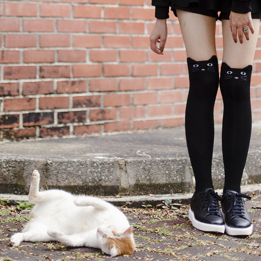 Meowy Christmas outfit: Black knee high cat socks, Mango black leather sneakers.