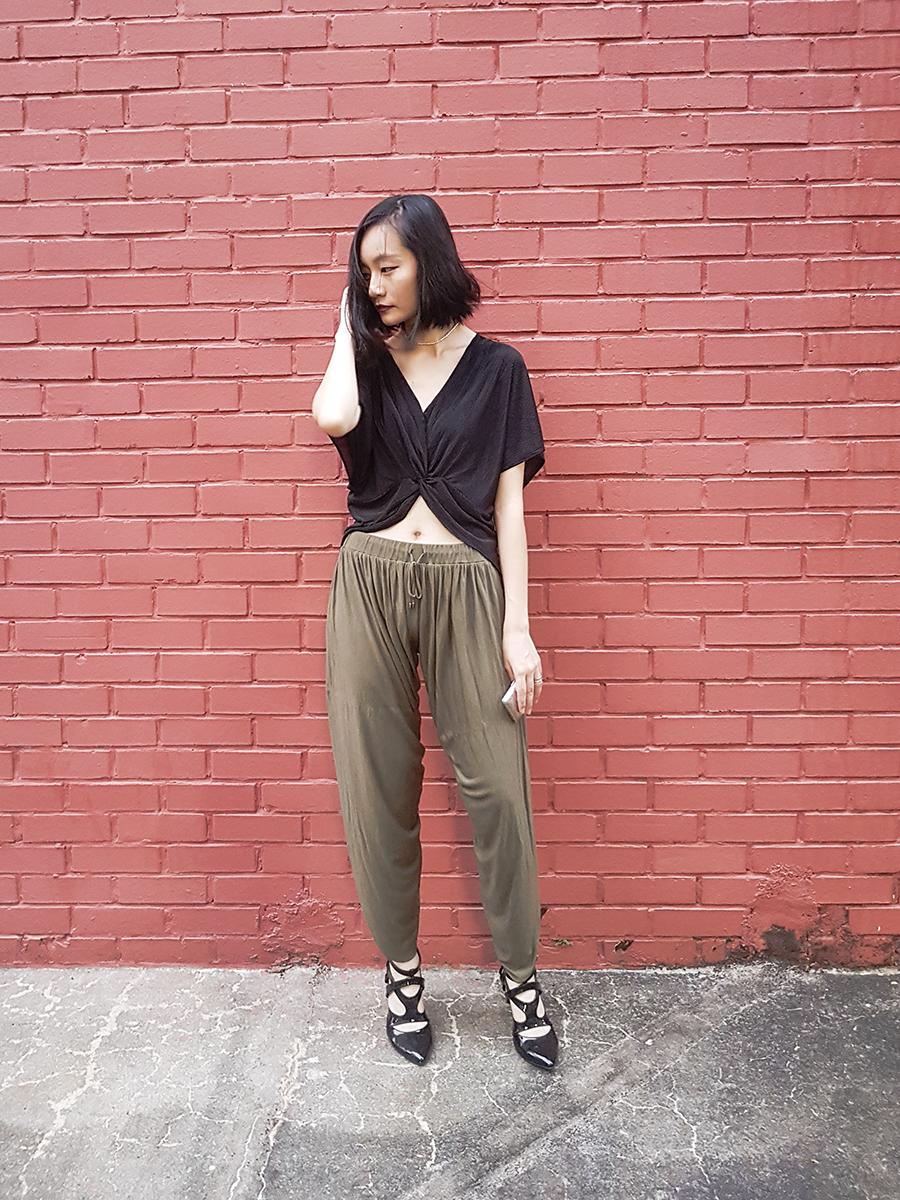 TOPSHOP Batwing Twist Front Top, Haute Hippie side slit harem pants, Sidewalk Secret Agent Patent Pointed Toe Heels.