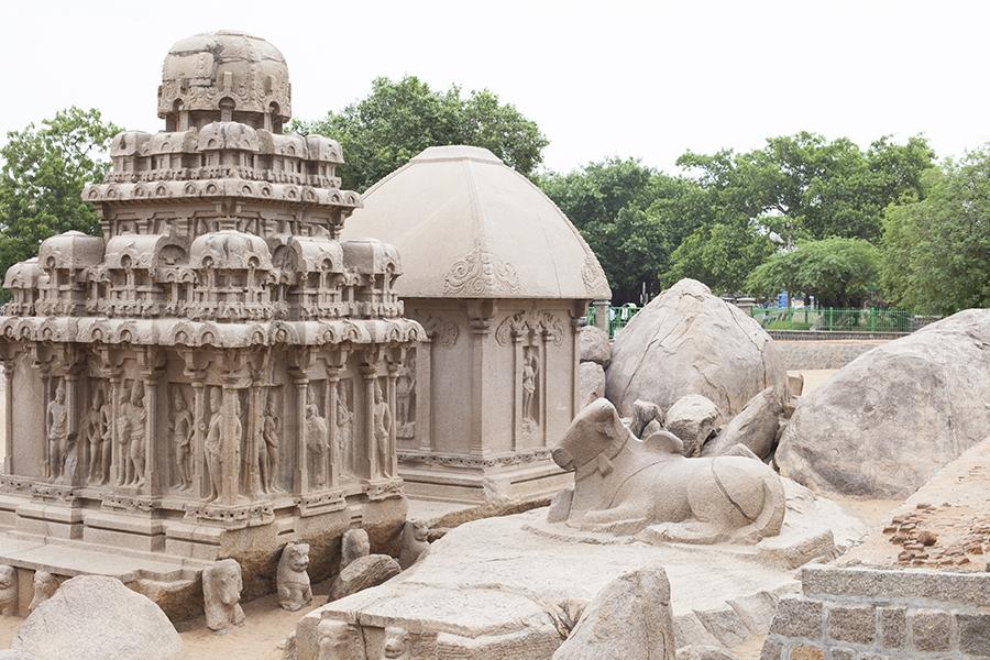 Sculptures at 5 Rathas Mahabalipuran Chennai India.
