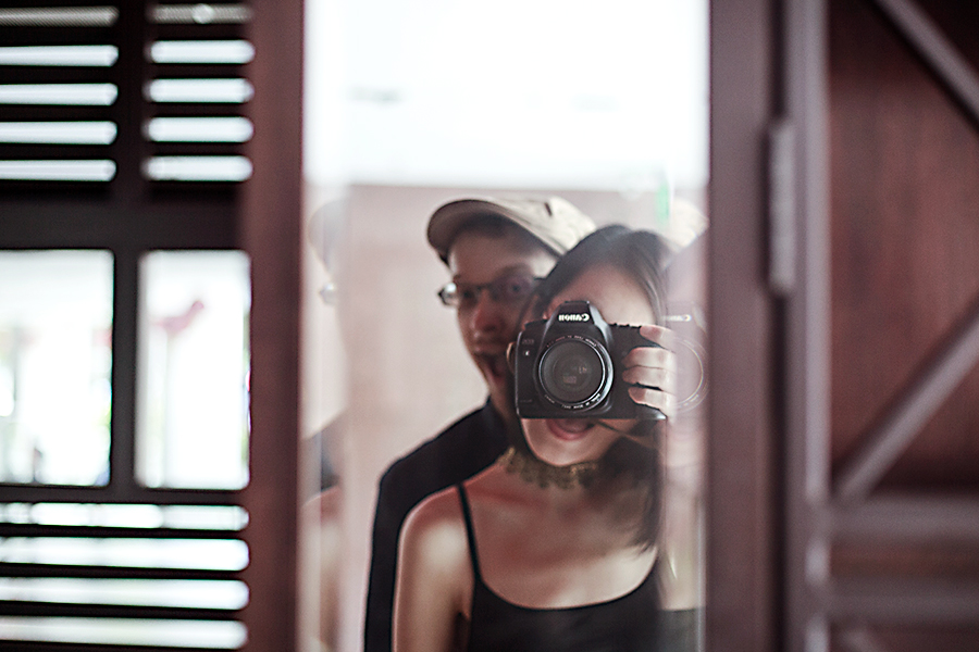 Ottie and Ren's derp mirror selfie with a Canon dSLR.