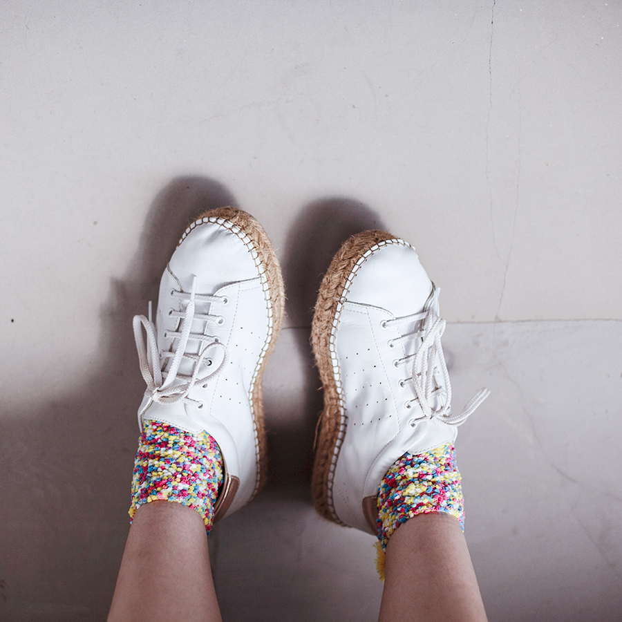 Zaful pom pom fleece socks, Kurt Geiger sneakers.