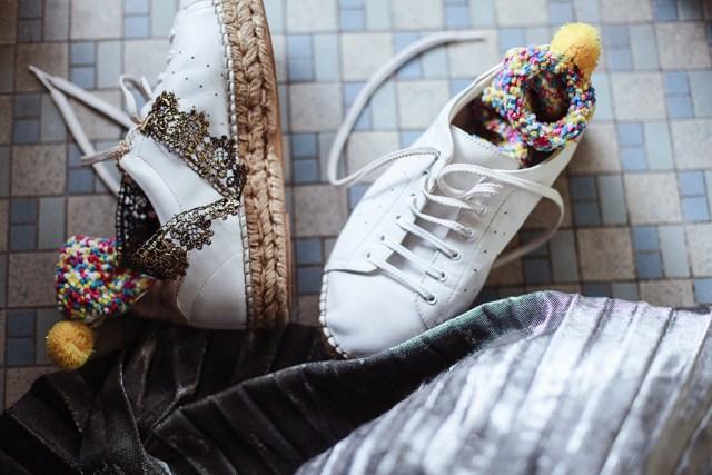 Zaful pom pom fleece socks, Kurt Geiger sneakers.