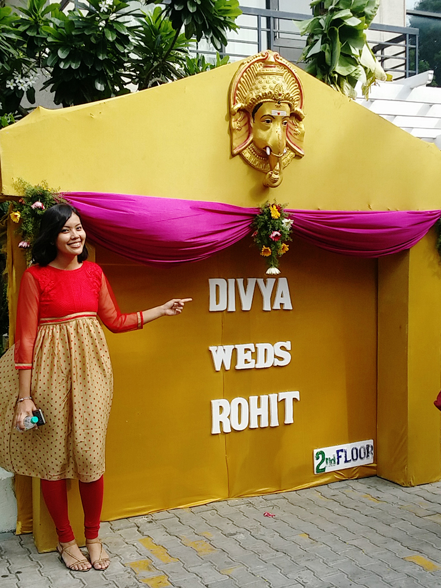 Divya weds Rohit banner at New Woodlands Hotel, Chennai India.