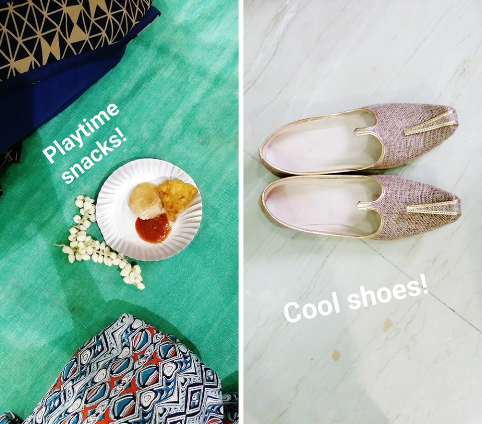 Snapshots at an Indian wedding: traditional playtime segment and the groom's swanky shoes.