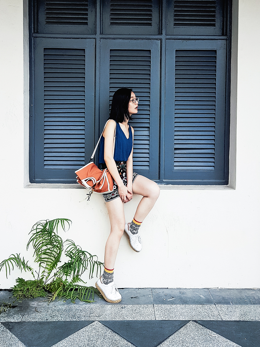Windowsill outfit: Zalora chain-back top, Shein embroidery miniskirt, Rawrow canvas slingbag via Zalora, Firmoo red glasses, Sammy Icon printed socks, Kurt Geiger Lovebug leather sneakers.