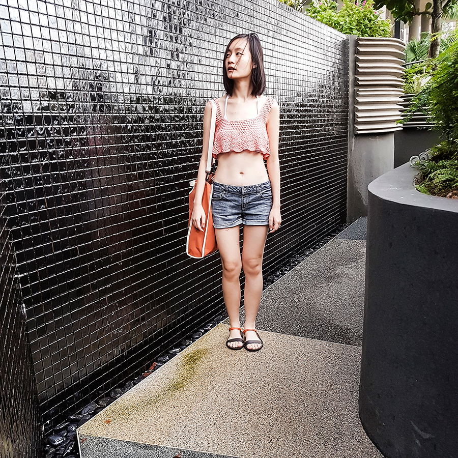 Poolside staycation outfit: Zaful pink knit flouncy crop top, Forever 21 denim cuffed shorts, Piha Gelato Wrap Bikini Top, BlackOut SG custom sandals, RAWROW bag.