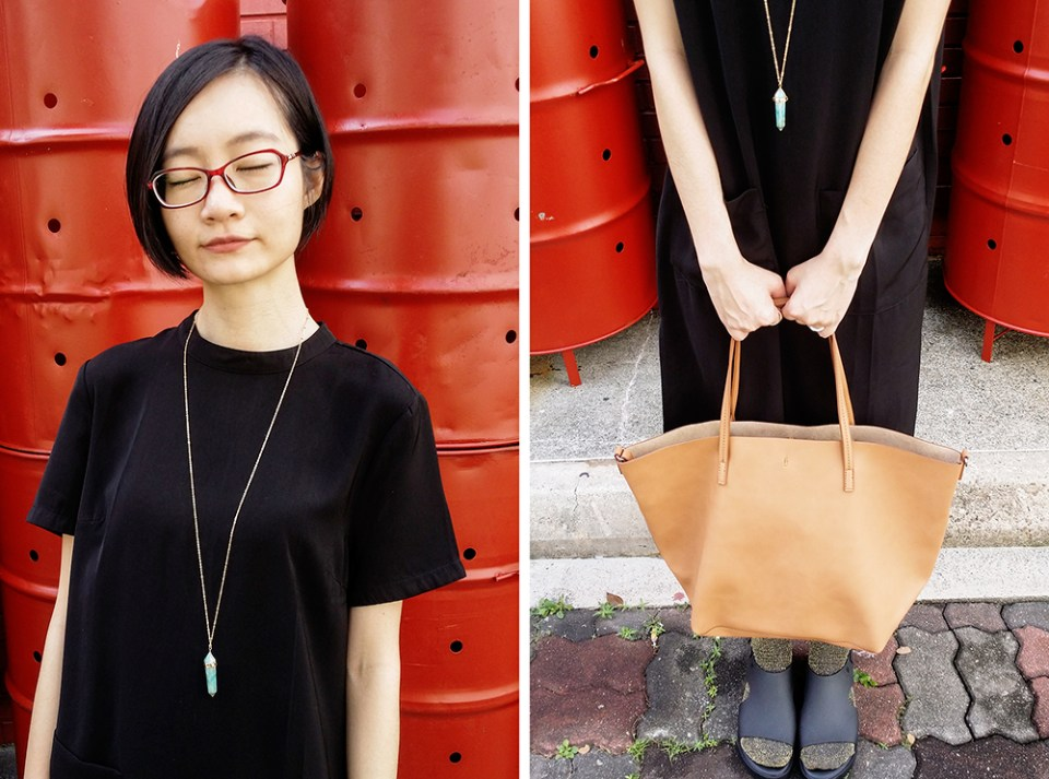 black habit ootd: Forever 21 black tunic dress with pockets, Aldo necklace, Mango shopper bag, Melissa black platform sandals, Topshop glitter socks, Firmoo red glasses.