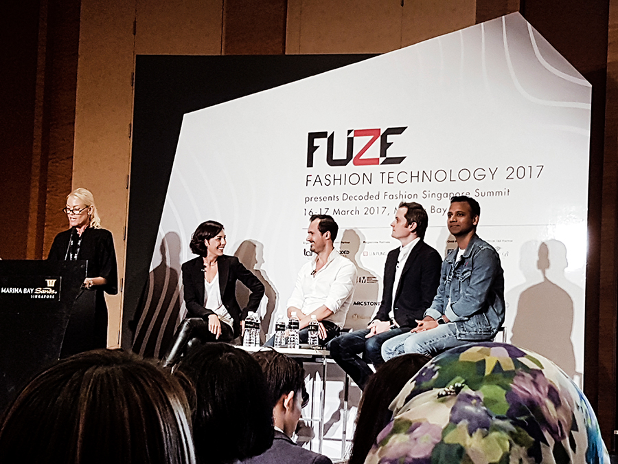Panel discussion at FUZE2017 at Marina Bay Sands: Renee Lodens from Travelshopa, Parker Gundersen from Zalora, Benoi Lavaud from Bluebell, and Anil Srinivas from Levi Strauss & Co. Modersator Stacey Halliwell from ISB.