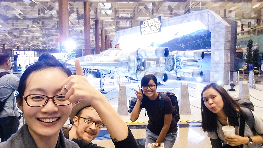 Wefie with Star Wars exhibit at Singapore Changi Airport,