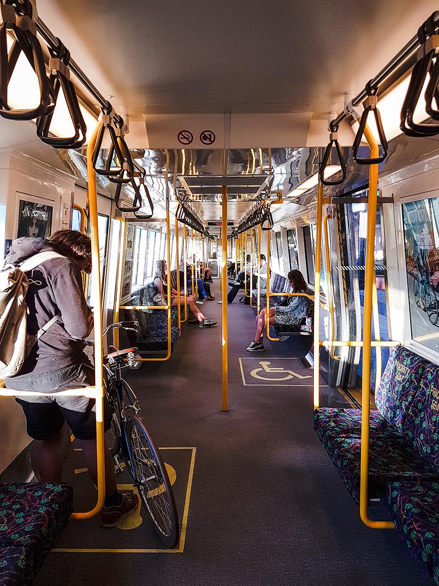Inside of a train carriage in Perth Australia.