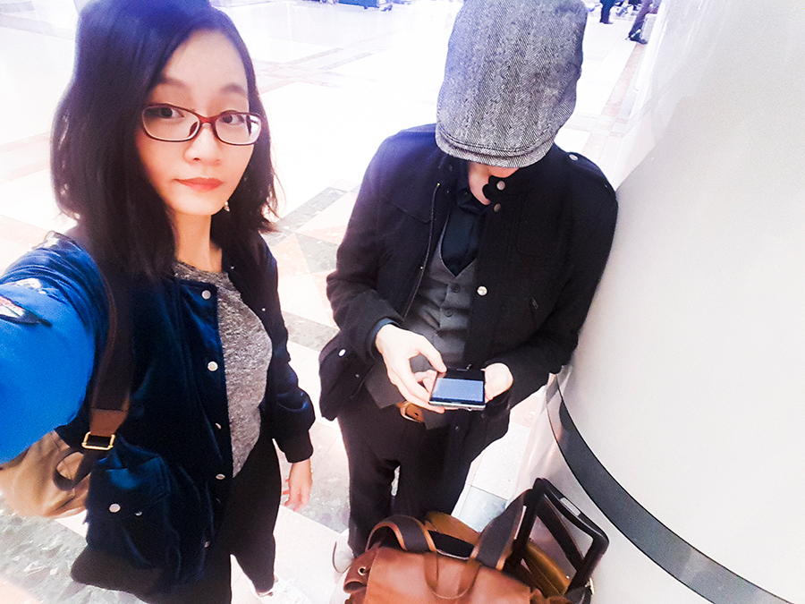 Selfie upon arriving at Narita train station in Japan.
