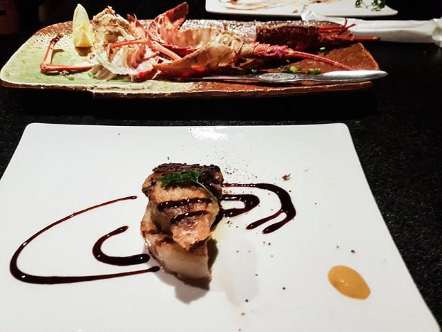 Teppanyaki Ten Lobster Course: Grilled Foie Gras.