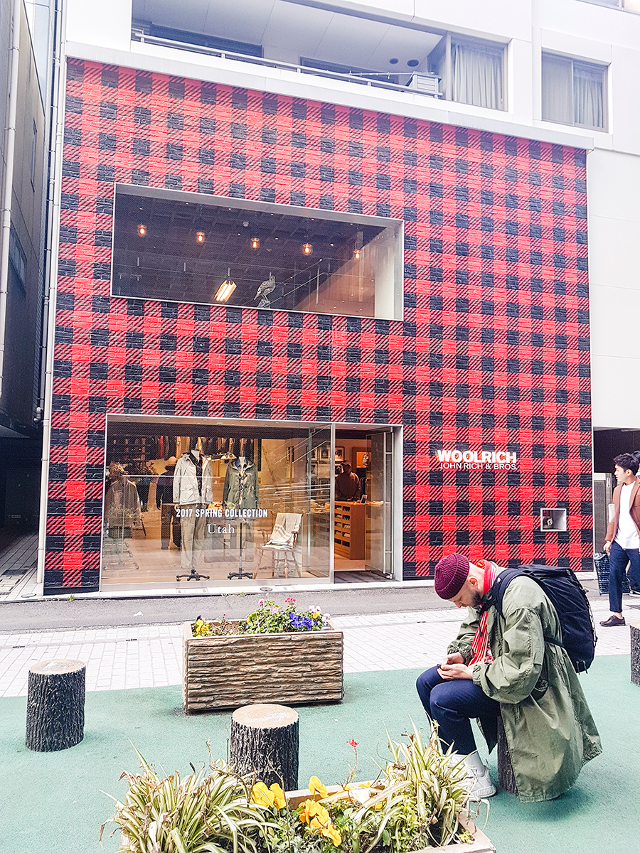 Woolrich building with a plaid facade in Harajuku Tokyo.