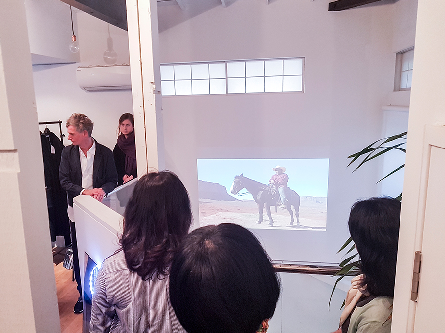 Curator Andreas Spiegl introducing brands and artworks from contemporary Vienna artists at Preface: Image in Politics for Amazon Fashion Week Tokyo 2017.