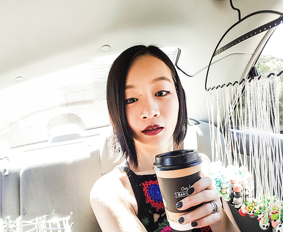 Car selfie with a cup of morning tea in Perth, Australia.