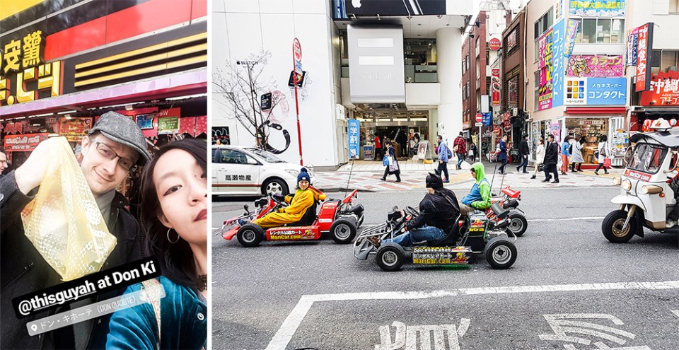 Dressup Mario Go Kart on the streets on Tokyo and shopping at Don Quijote in Japan.
