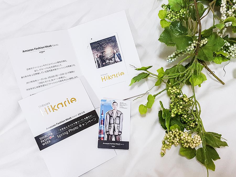 Printed photo card for Amazon Fashion Week Tokyo 2017 at Shibuya Hikarie.