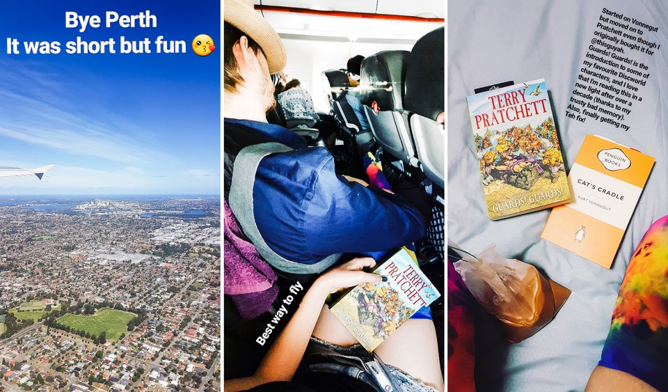 Instagram Stories collage: reading books while traveling home from Perth to Singapore.