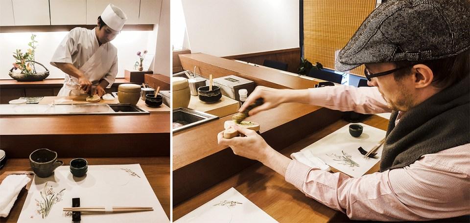 Grinding wasabi on shark skin in Makoto Sushi.