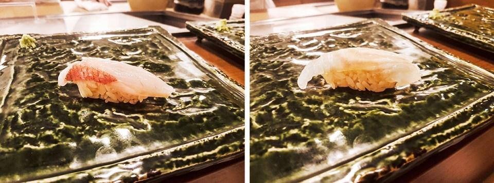 Red snapper Alfonsino sushi in Makoto Sushi. Seaweed flounder sushi with glazed with sake on top of konbu, topped with salt in Makoto Sushi.