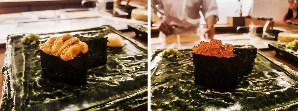 Uni gunkan and Ikura gunkan in Makoto Sushi.