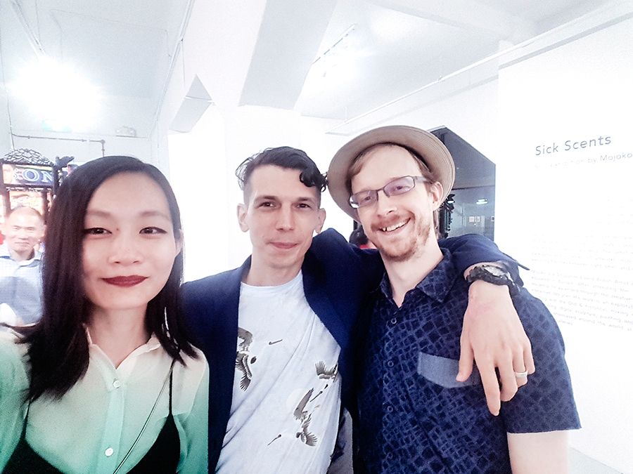 Chan + Hori Contemporary Mojoko 'Sick Scents' exhibition opening night: wefie with Bradley Foisset.