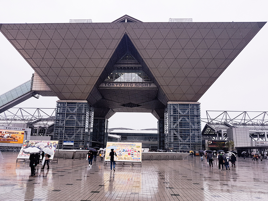 Tokyo Big Sight on a rainy day.