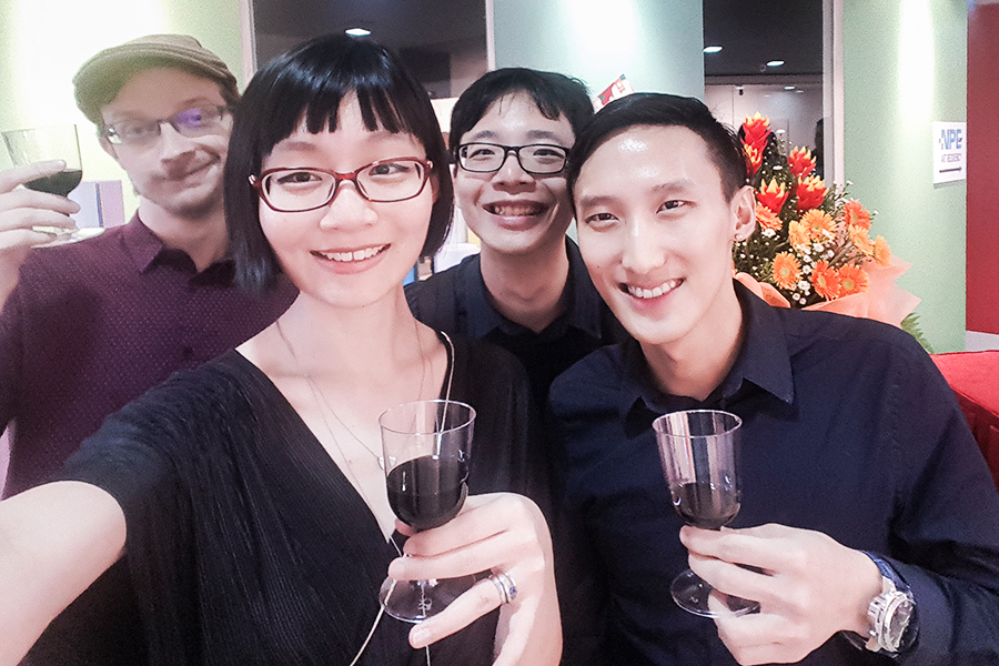 Wefie with Daryl Goh, YX, and Ottie at NPE Art Residency: Folds of Mind.