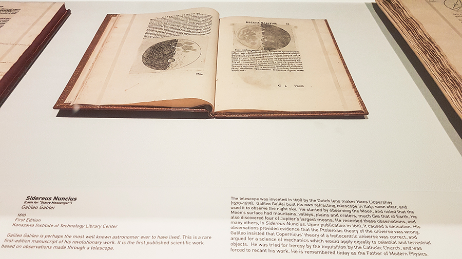 1610 first edition of Sidereus Nuncius (Starry Messenger) by Galileo Galilei at the The Universe and Art: An Artistic Voyage Through Space exhibition, ArtScience Museum Singapore.