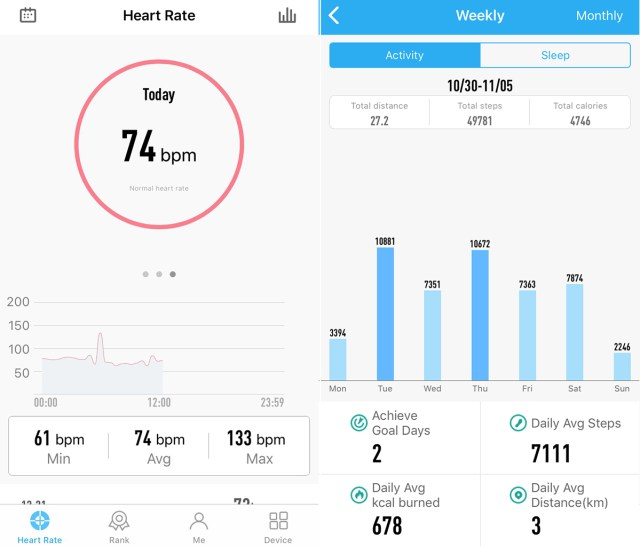 Lenovo Heart Rate Band G03: Pulse and steps measurements.