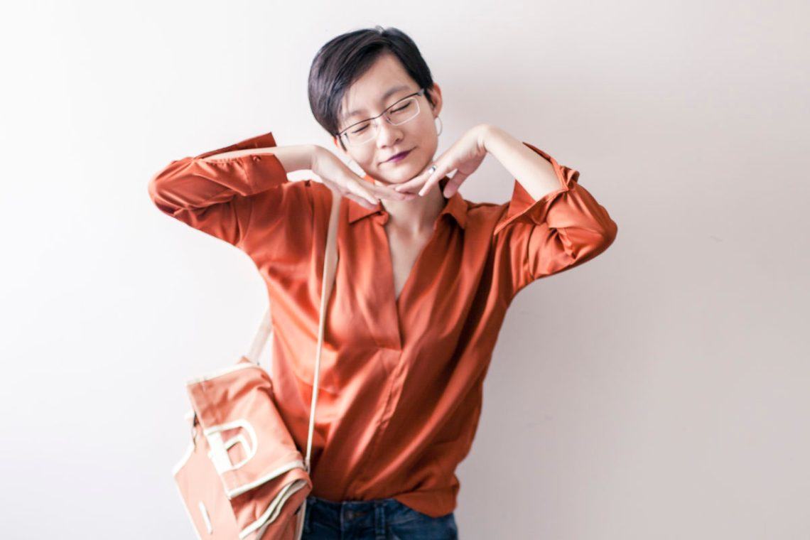 OOTD: Pomelo Fashion orange blouse, Espirit denim jeans, RAWROW convertible satchel, OWNDAYS glasses.