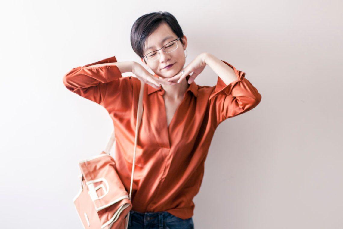 OOTD: Pomelo Fashion orange blouse, Espirit denim jeans, RAWROW convertible satchel, OWNDAYS glasses.