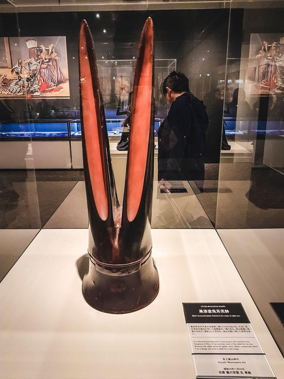 Yasukuni Shrine Museum: Black-lacquered Kabuto (helmet) in the shape of rabbit ears.