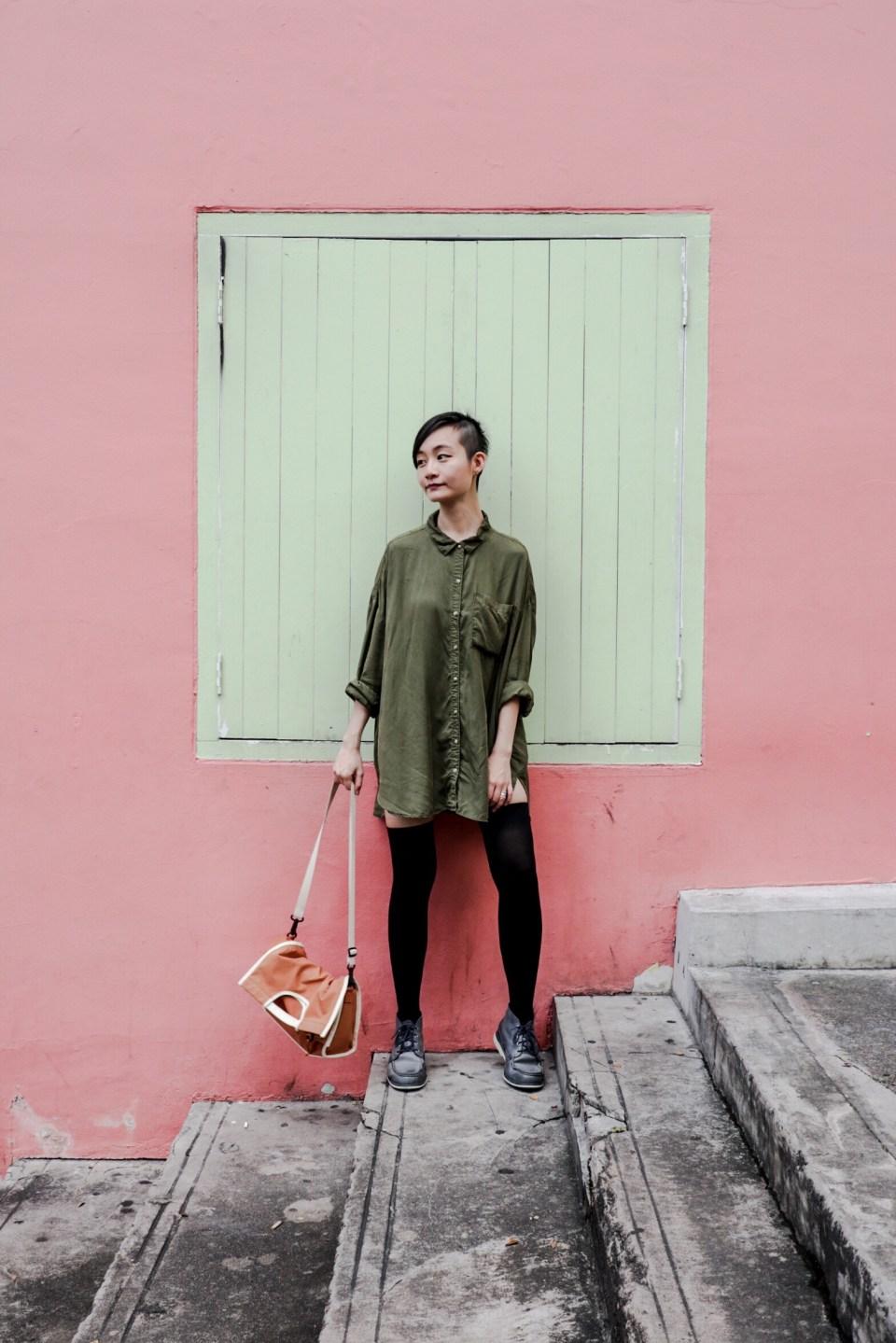 outfit of the day: zara tencel lyocell shirt dress, we love colors black thigh high socks, timberland blue chukka boots, rawrow convertible satchel.