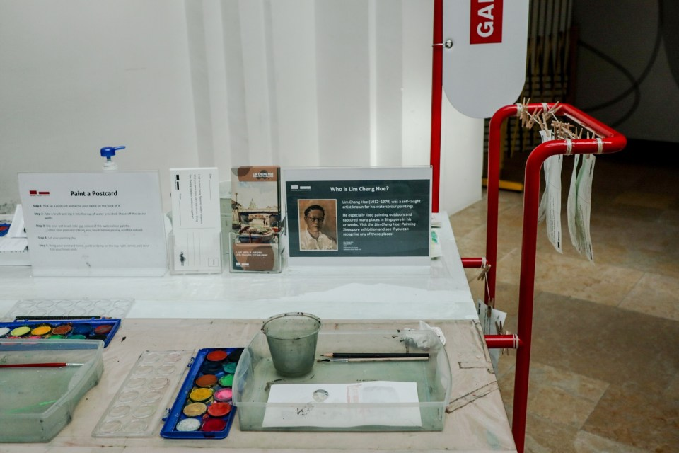 Lim Cheng Hoe watercolour activity booth at the National Gallery Singapore.