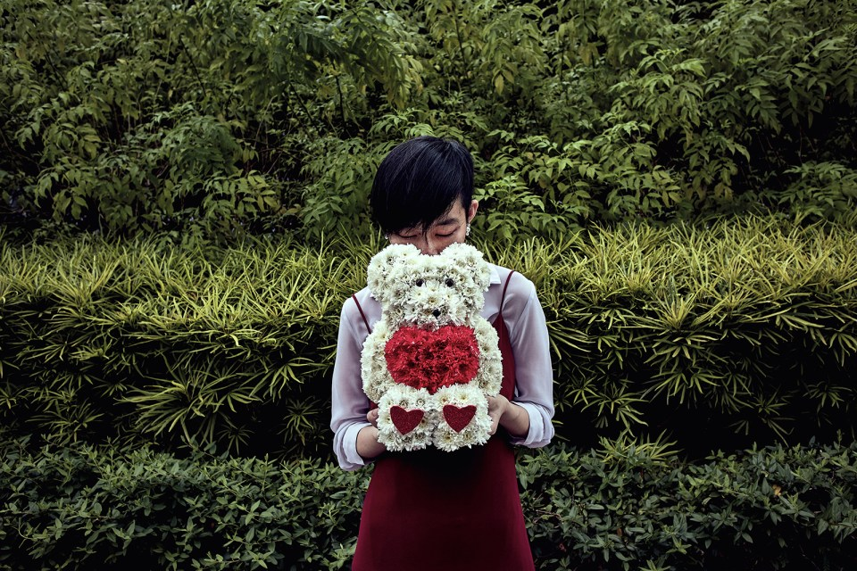 Outfit ft. M)phosis blouse, Something Borrowed dress, Dandelion Japanese Style Flower Pearl Earrings, Mr. Crush Teddy Bear Bouquet from Little Flower Hut.