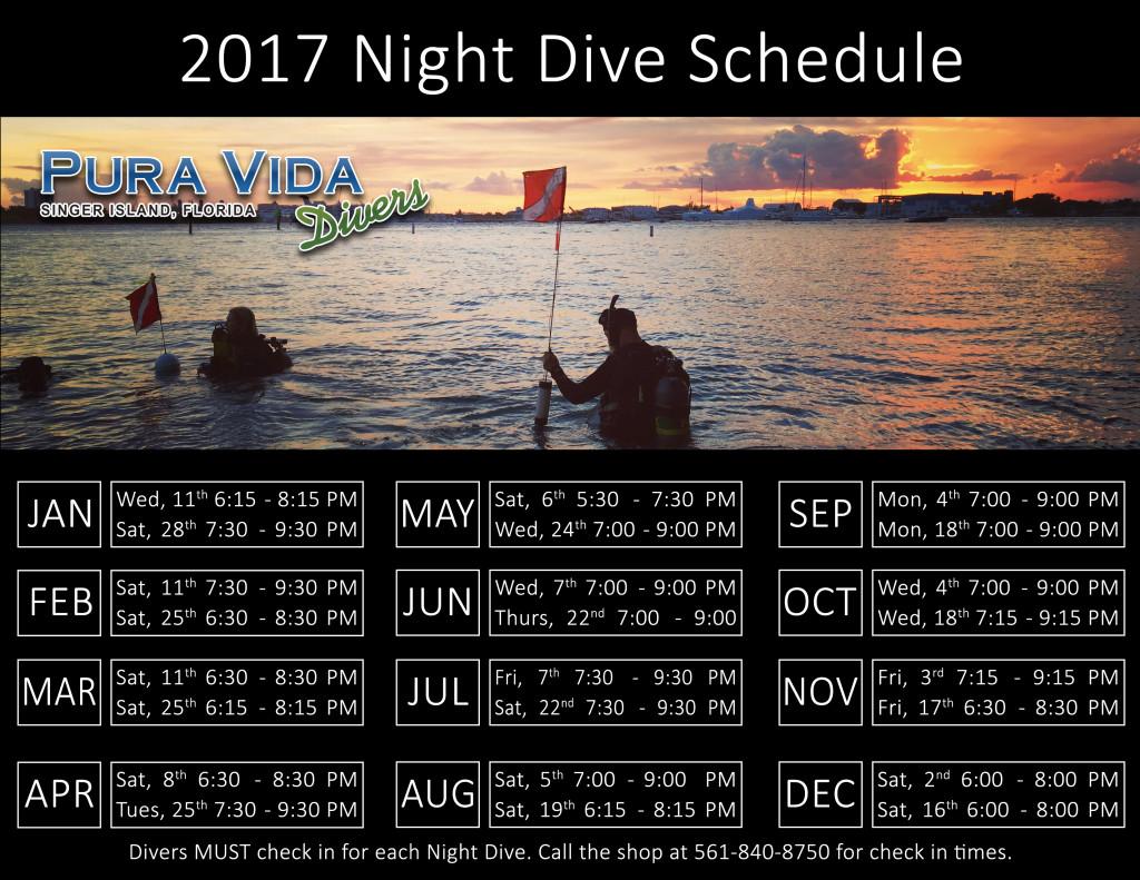 2017 Night Dive Schedule