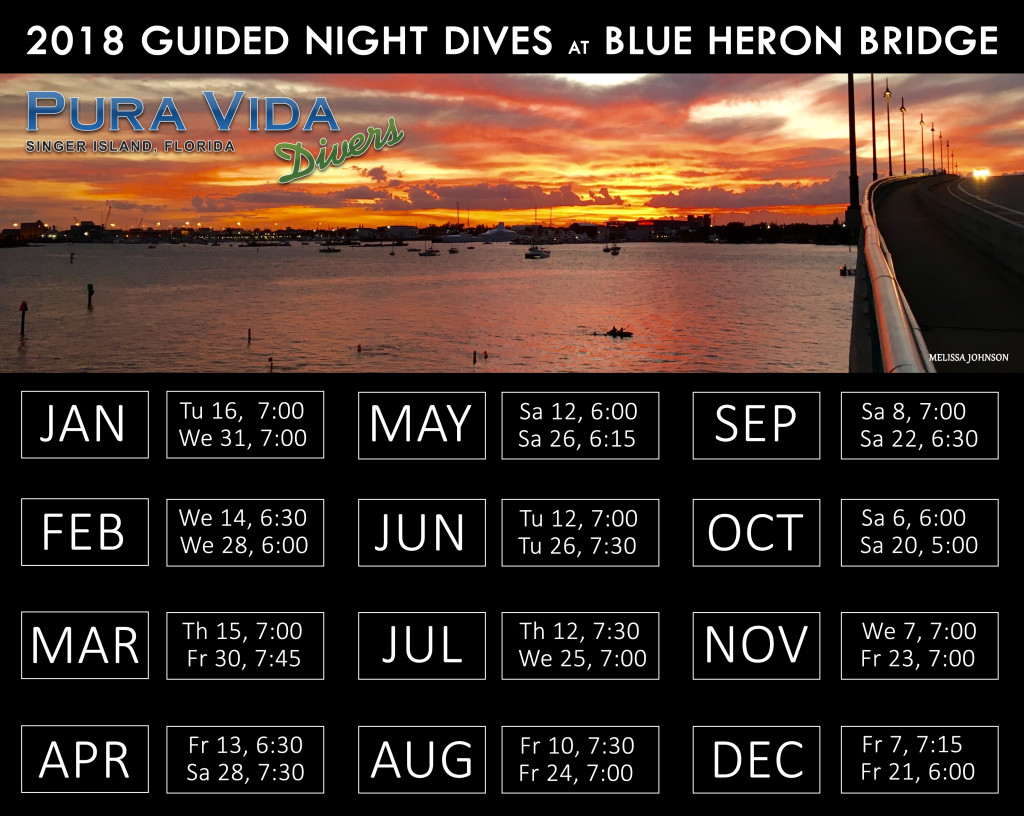 2018 Night Dive Schedule