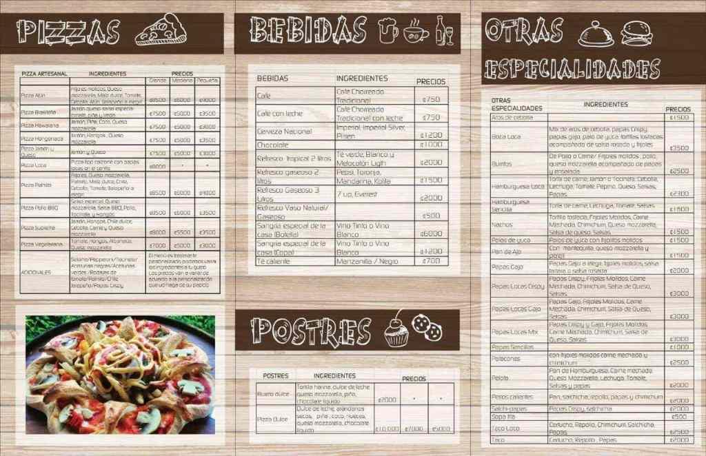 pizza loca menu