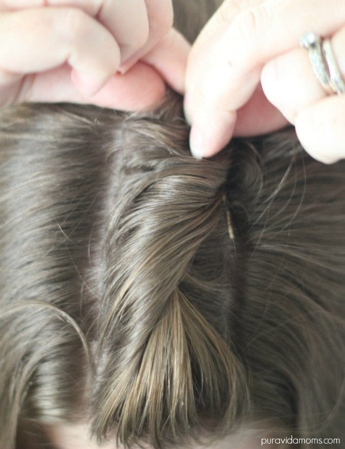 anchor updo with a bobby pin