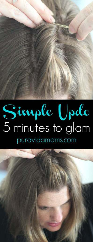 simple updo for short hair- 5 minutes to glam