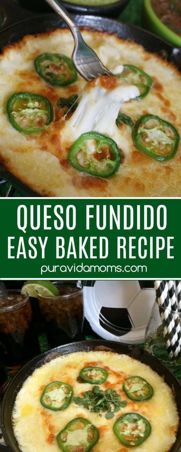 Queso fundido- a Mexican term for melted cheese in a skillet, is a warm, gooey and delicious appetizer. This easy baked vegetarian queso fundido will be sure to please a crowd!