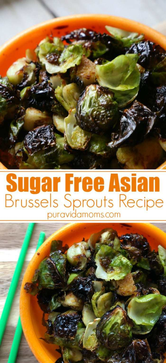 These sugar free crispy asian Brussels sprouts are a super healthy option for those wanting a sweet and spicy sauce that tastes like it has a million calories- and really only has a few. With one secret ingredient, you will swear these sugar free crispy Asian Brussels sprouts are fried- they don't taste skinny at all!