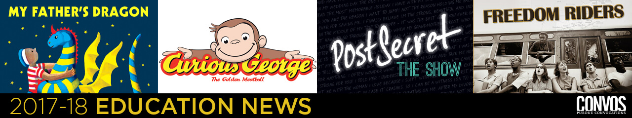 2017-18 Convocations Youth Series features My Father's Dragon, Curious George: The Golden Meatball, PostSecret: The Show, Freedom Riders