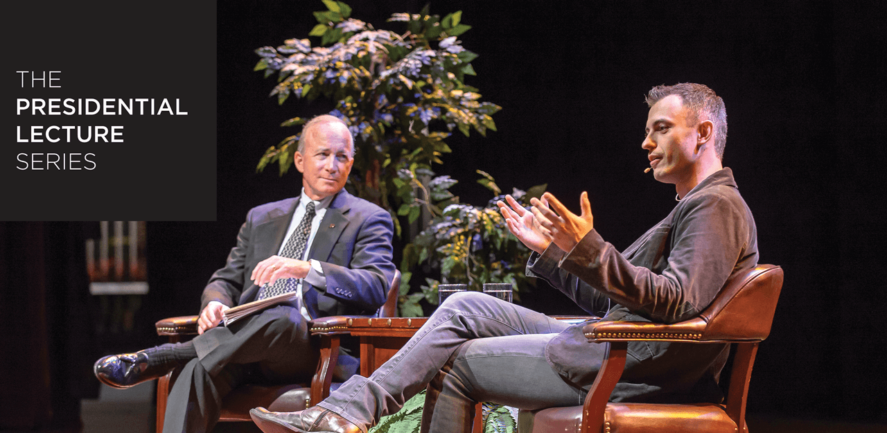 President Daniels speaking with Paul Eremenko during 2014-15 Presidential Lecture Series