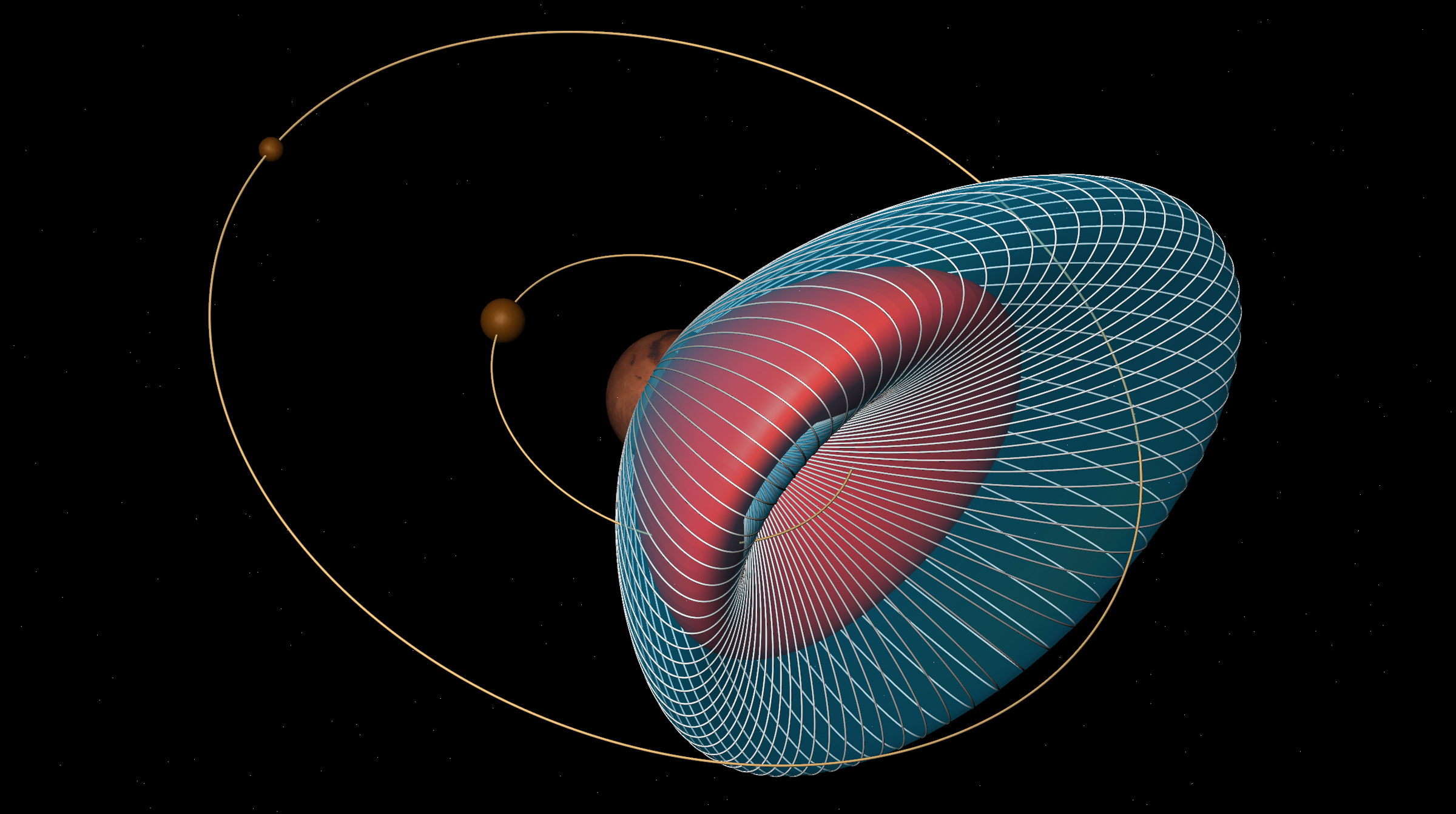 The image shows the orbits of the Martian moons Phobos and Deimos and the spread of potential particle trajectories from an asteroid impact on Mars. (Purdue University image/courtesy of Loic Chappaz)