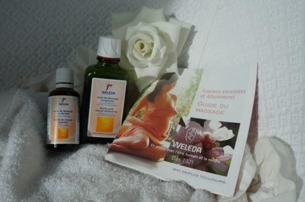 huiles de massage de la gamme maternité Weleda