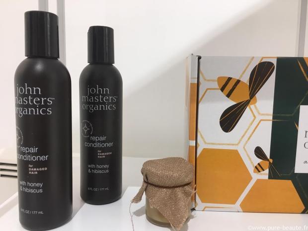 john masters organics après-shampoing pour cheveux abîmés au miel et à l'hibiscus