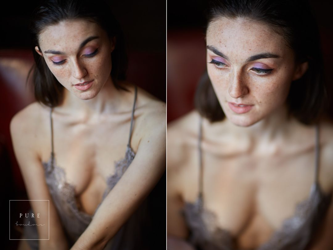 natural light beautiful freckled boudoir portrait