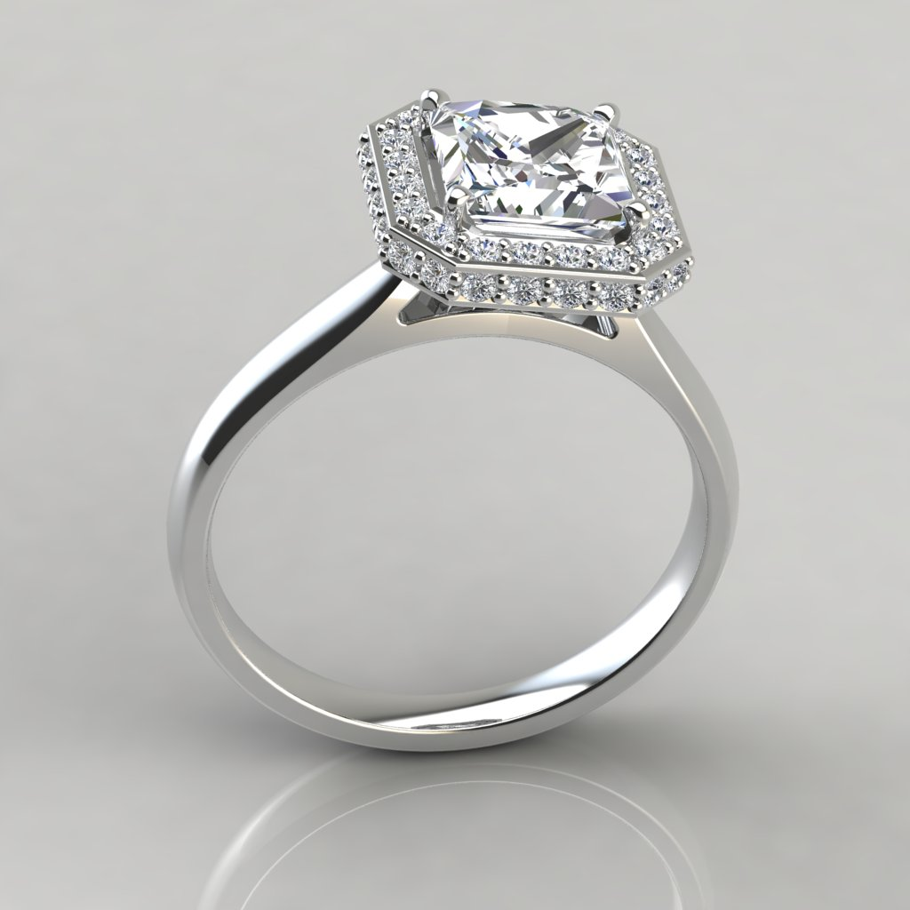 Princess Cut Halo Engagement Ring Pure Gems Jewels